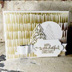 Christmas, Christmas Cards, Christmas Tree, Gold, DIY, Handmade, Stampin' Up!, Peaceful Pines stamp set - StampinByTheSea.com