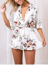 4bf33d0fdd Summer Floral Print Ruffles Women Elegant White V Neck Jumpsuits Rompers  Sexy Beach Girls Short Overalls White Color