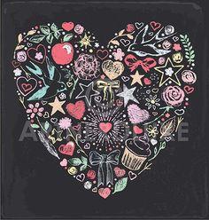 Pretty Vintage Chalk Valentine's Day Greeting Card Illustration by ArtnerDluxe