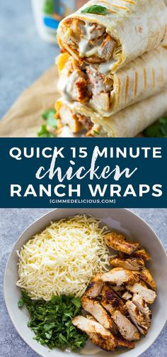 Healthy grilled chicken and ranch wraps are loaded with chicken, cheese and ranch. These tasty wraps come together in under 15 minutes and make a great lunch or Lunch Snacks, Lunch Recipes, Easy Dinner Recipes, Mexican Food Recipes, Cooking Recipes, Lunches, Chicken Wrap Recipes Easy, I Love Food, Good Food