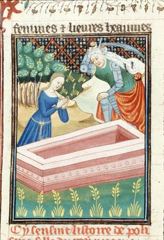 BL Royal 16 G V Le livre de femmes nobles et renomées, Folio 036v, 1440, Rouen, France, British Library. The lady is wearing a demicient belt with star-like fittings.