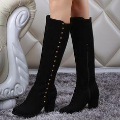 Shoespie Rivets Hoop Block Heel Knee High Boots
