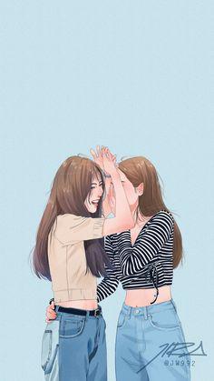 talking and laughing with my school friends Cute Couple Drawings, Cute Couple Art, Cute Couples, Best Friend Drawings, Bff Drawings, Girl Cartoon, Cartoon Art, Pretty Art, Cute Art