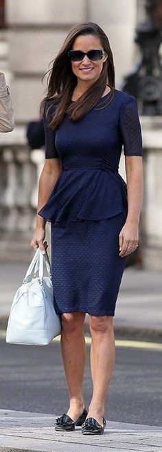 Pippa Middleton's blue peplum dress and shoes