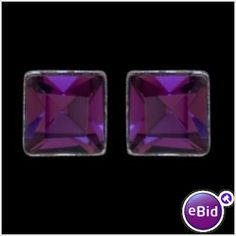 STERLING SILVER SQUARE EARRINGS WITH VIOLET GLASS CRYSTAL STONE