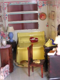 Dollhouse Miniature Vintage Yellow Bed with by DollhouseLuvForever