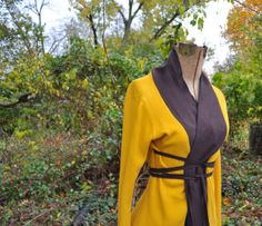 Cardigan Wrap Shirt in Marigold and Dark Brown/Upcycled Clothing/Altered Couture/ Size Small Medium