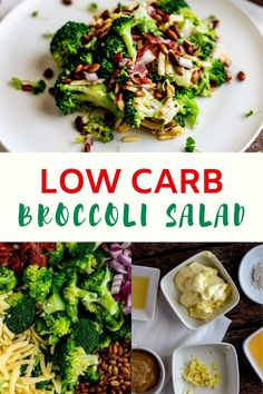 This Keto Low Carb Broccoli Salad without sugar is so easy to make and the perfect recipe for your low carb diet! Lightly sweetened with swerve, this delicious recipe has crunchy bacon and pumpkin seeds. #KetoBroccoliSalad #LowCarbRecipes