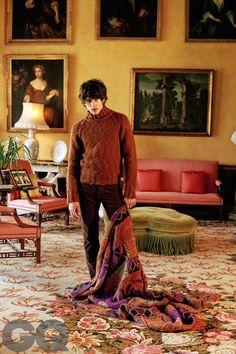 Jumper, £660. Corduroy trousers, £460. Both by Tom Ford. tomford.com. Throw by Missoni, £2,310. missoni.com