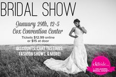 Getting married?! Plan your wedding in a day at the Oklahoma Bridal Show on January 29th! Tickets at www.okBride.com. Oklahoma, January, Bridal Show, Plan Your Wedding, Getting Married, How To Plan, Wedding Dresses, Fashion, Bride Dresses