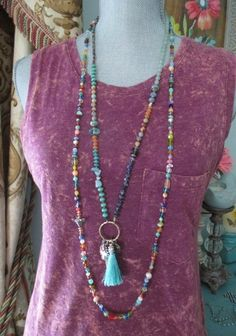 Colorful knotted necklace Rainbow Mix multi color by slashKnots