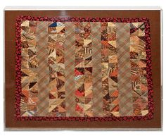 19th Century Early Mini Pieced Doll Quilt mounted in a Plexy Glass Box.