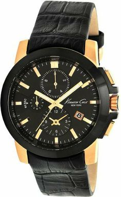 Kenneth Cole New York Men's KC1861 Dress Sport Triple Black Chronograph Gold Bezel Watch Kenneth Cole. $107.66. Sporty chronograph features in a package that's all business. Tachymeter bezel detail. 42mm rose gold and black ion-plated stainless steel case. Striking black face with contrasting rose gold indices. Three-hand quartz analog movement. Save 42%!