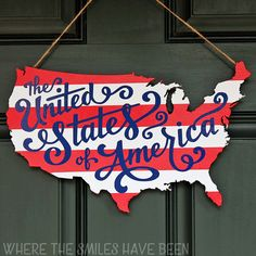 "This lovely patriotic door sign offers a new interpretation of ""America the Beautiful."""