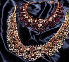 Gorgeous Ruby Beads and Pearls Guttapusalu Sets - Indian Jewellery Designs Real Gold Jewelry, Gold Jewelry Simple, Beaded Jewelry, Gold Jewellery, Antique Jewelry, Trendy Jewelry, Pearl Jewelry, Indian Jewelry Sets, Indian Jewellery Design
