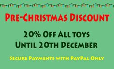 Get pre-Christmas discount of 20% off all products in our store until 20th Decmeber. Better than 3 for 2 as discount on each item instead of cheapest free! 3 For 2, Pre Christmas, All Toys, Toy Store, Kids, Free, Products, Young Children, Boys
