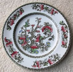 Johnson Brothers INDIAN TREE Plate with Greek Green Key - Black Label #JohnsonBrothers