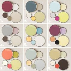 9 designer chosen paint color palettes for adding subtle pops of color.  Each palette has paint color names and inspiration for layering.  BHG