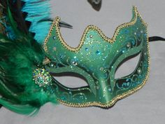 Masquerade Mask in Green and Gold with Teal by TheCraftyChemist07