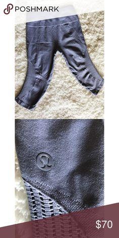🍋lululemon flow and go leggings in periwinkle🍋 High waisted seamless cropped leggings in good condition. lululemon athletica Pants Leggings