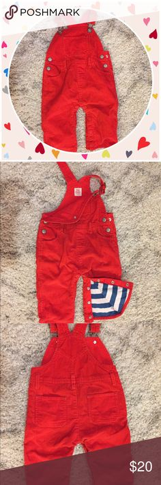 Baby Boden Corduroy Overalls Cute as a button Baby Boden red corduroy overalls. Snap closure at legs. 6-12 months Baby Boden Bottoms Overalls