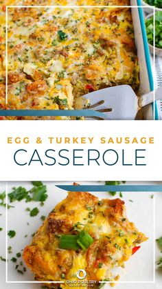 Filled with healthy proteins, like turkey sausage and eggs, this dish is the easiest make-ahead breakfast or brunch you'll ever make! Healthy Breakfast Casserole, Brunch Casserole, Breakfast Casserole Sausage, Breakfast Dishes, Casserole Recipes, Turkey Breakfast Sausage, Breakfast Sausage Recipes, Turkey Sausage, Healthy Breakfast Recipes