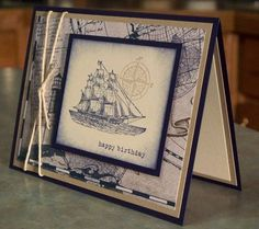 This handmade birthday card measures 5 1/2 x 4 1/4 with all images & wording being hand stamped, except parts of the lighthouse layer, which is from the Stampin Up Nautical dsp. I just stamped the ledger & a couple of globes onto the dsp. The card was made using stamps from The Open Sea & Plane & Simple Stampin Up sets, not quite navy & crumb cake card stocks, inks & twine. You may order this card for a Birthday or Fathers Day, just choose your option from th...