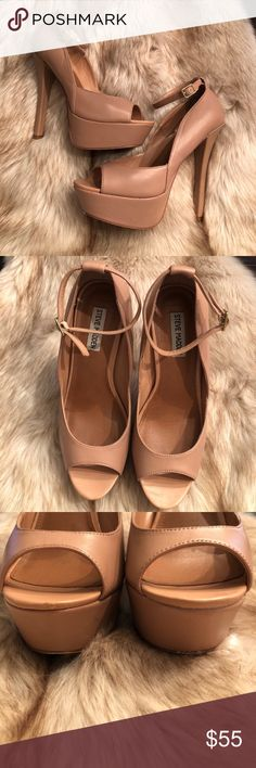 Steve Madden Blush ankle tie peep toe pumps sz 9 6 inch heel, 2 inch platform. Only worn 3 Times. Ankle tie is removable. Minor scuff by peep toe area as seen in photo. Other than that they're like new. Tan color matches with anything Steve Madden Shoes Heels