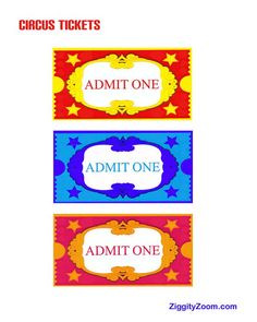 Kids FREE Printable Circus Tickets for Pretend Circus Play | Ziggity Zoom
