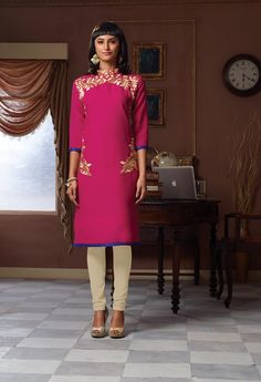 Shop Magenta Poly Linen Readymade Kurti 63920 online at best price from vast collection of designer kurti at Indianclothstore.com.