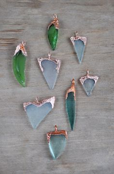 Sea Glass Pendant Natural Sea Glass in copper frame by ChechelArt