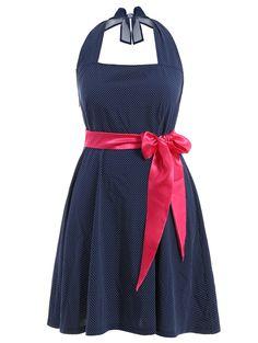 Halter Polka Dot Plus Size Dress With Belt #jewelry, #women, #men, #hats, #watches, #belts, #fashion