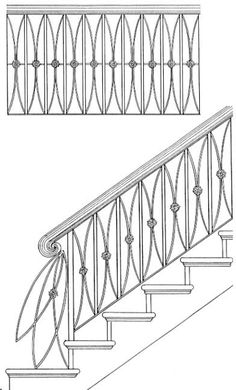 Welcome to our Wrought Iron Handrails and Railings Gallery For prices, please call Select an image to set view larger details. Wrought Iron Handrail, Iron Handrails, Banisters, Interior Handrails, Staircase Railing Design, Metal Stairs, Faux Painting, Scroll Design, Staircases