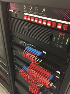 1 of 3 racks for this Alderley Edge system.  This rack contains the network, UPS and CCTV system electronics.