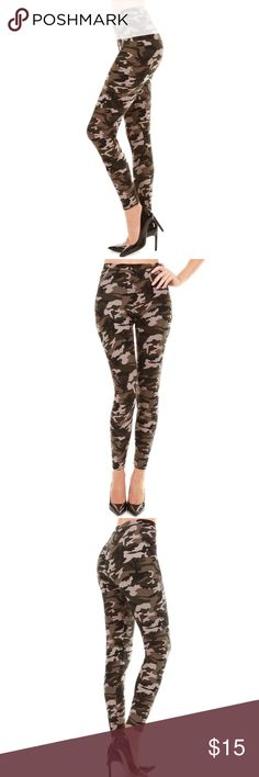 Grey Camouflage  Printed Buttery Soft Leggings 95% polyester, 5% spandex  Machine wash cold  For 4 Season  ( Other prints in stock ) One size that fit S/M Pants Leggings