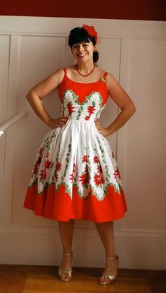 christmas dress sewn from a retro tablecloth
