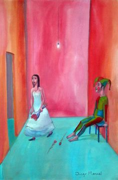 Amor de madre 2, acrylic on canvas, 43 x 63 cm. , 2008. Pintura en la venta de la serie Pop Surrealista del artista Diego Manuel