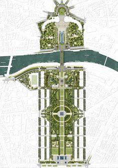 World Architecture Community News - Gustafson Porter + Bowman wins Paris' Site Tour Eiffel Competition British Architecture, Landscape Architecture Design, Landscape Plans, Urban Landscape, Ireland Landscape, Urban Design Concept, Urban Design Plan, Tour Eiffel, Parking Plan