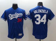 Men's Los Angeles Dodgers #34 Fernando Valenzuela Retired Blue 2016 Flexbase Majestic Baseball Jersey
