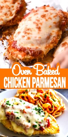 This delicious Oven Baked Chicken Parmesan recipe is easy and doesn't require any frying. Because this chicken Parmesan is baked, it is healthy, quick and easy! Make this crispy baked Parmesan crusted chicken for dinner tonight in about thirty minutes! Baked Parmesan Crusted Chicken, Chicken Parmesan Recipes, Recipe Chicken, Chicken Recipes Video, Mozzarella Chicken, Chicken Bake Recipes Easy, Delicious Chicken Recipes, Pasta Bake Recipes, Yummy Recipes