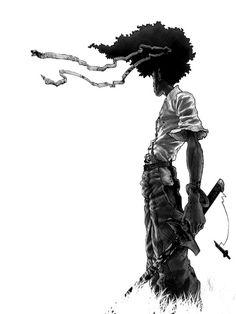 Afro samurai t-shirt fool! Manga Samurai, Afro Samurai, Samurai Tattoo, Samurai Jack, Manga Anime, Scratchboard Art, Samurai Artwork, Comic Pictures, Comic Pics