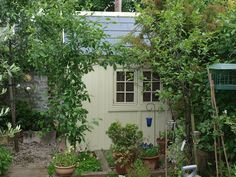 potting shed. Finished with sadolin superdec hemlock. Front Door Farrow And Ball, Posh Sheds, Exercise In Futility, Potting Sheds, Garden Buildings, Garden Sheds, Window Frames, Colorful Garden, Greenhouses