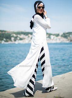 Çizgili Pantolon - Siyah Beyaz - Tuva By Burcu Aslan