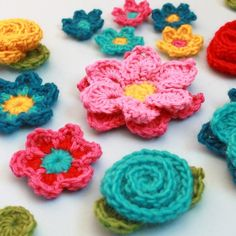 Flower Shower PDF Crochet Patterns (4 flowers embellishments and leaves)#Repin By:Pinterest++ for iPad#