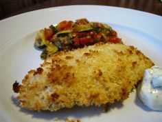A lighter version of fried fish because its baked.  The panko gives a light crust, but it still gets nice and crispy.  Serve this with potato wedges that you lightly spray with olive oil, season and bake and you have a healthier, no fried version of fish and chips.  Try this with the best, easiest tartar sauce ever recipe #170190!