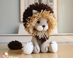 Crochet toy Lion plush cute lion stuffed animal baby toys amigurumi lion baby shower gift - Ready to ship