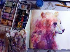 My bear illustration #moleskine #watercolor #illustration #art #bear