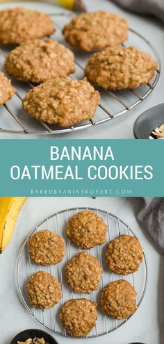 These Banana Oatmeal Cookies are absolute perfection. This recipe yields a perfectly soft, cake-like banana cookie loaded with oats. Banana oatmeal cookies are the perfect treat for breakfast or dessert. Banana Oat Cookies, Oatmeal Cookie Recipes, Coconut Cookies, Gourmet Recipes, Dessert Recipes, Healthy Recipes, Healthy Food, Healthy Eating, Dessert Ideas