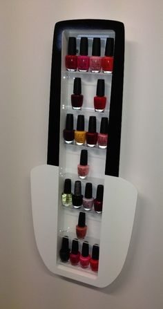 White Acrylic Nail Polish Bottle Shape Wall Mounted Nail Polish Display Shelving / Organiser: Amazon.co.uk: DIY & Tools