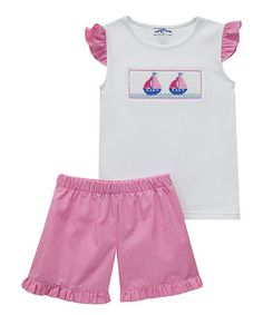This White Sailboat Tee & Pink Smocked Shorts - Infant is perfect! #zulilyfinds